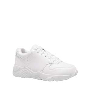 Round Toe Faux Leather Sneakers - WHITE 38