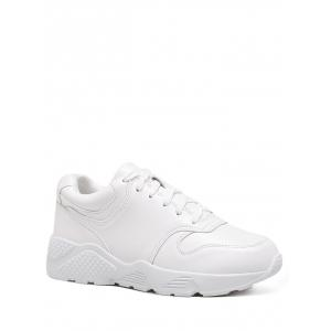 Round Toe Faux Leather Sneakers - White - 39