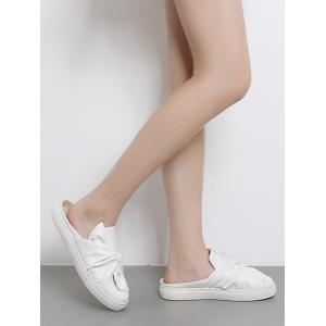Bowknot Ruched Slip On Flats - Blanc 37