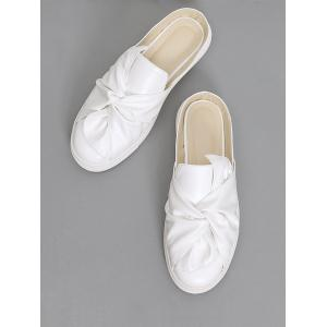 Bowknot Ruched Slip On Flats - WHITE 40