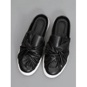 Bowknot Ruched Slip On Flats - Noir 39
