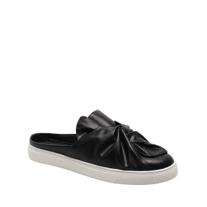 Bowknot Ruched Slip On Flats - BLACK 39