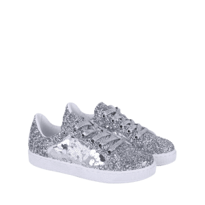Sequins Tie Up Flat Shoes - SILVER 40