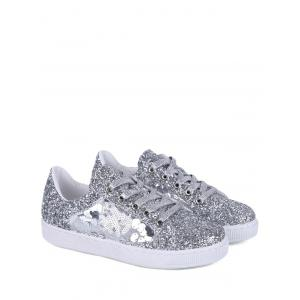 Sequins Tie Up Flat Shoes - Silver - 38