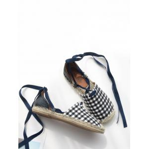 Stitching Plaid Pattern Tie Up Flat Shoes - CHECKED 37