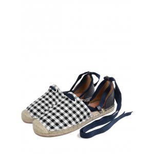 Stitching Plaid Pattern Tie Up Flat Shoes - Carré 40