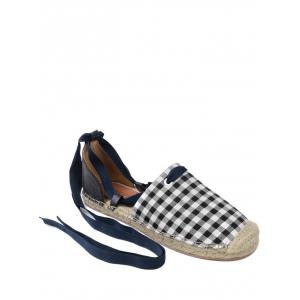Stitching Plaid Pattern Tie Up Flat Shoes