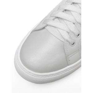 Tie Up Faux Leather Flat Shoes - Blanc 38