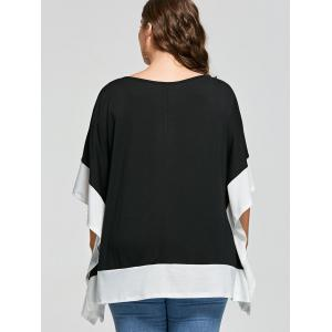 Plus Size Batwing Sleeve Two Tone Top -
