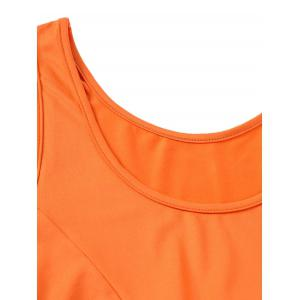 Long U Neck Asymmetrical Tank Top - BRIGHT ORANGE S