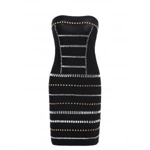 Strapless Beaded Bandeau Bandage Sheath Dress - Black - L