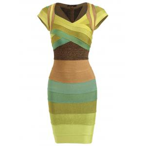 Cap Sleeve Color Block Bandage Dress - Colormix - M