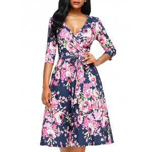 Midi Floral Wrap Dress - Rose Red - M