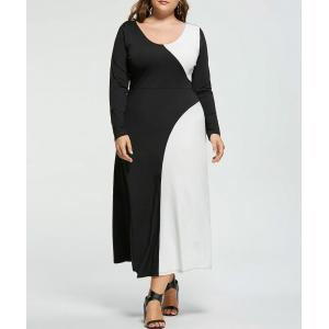 Plus Size Two Tone Long Sleeve Casual Maxi Dress - White And Black - 5xl