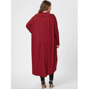 Plus Size Longline Cowl Neck Top - RED XL