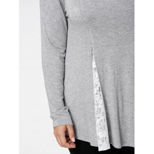 Plus Size Lace Panel Flare Top - LIGHT GREY XL