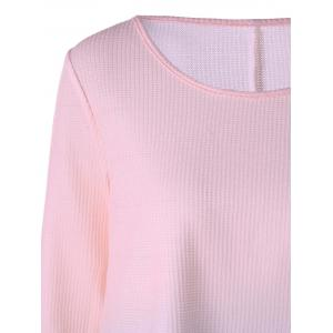 Knitted Long Sleeve Ombre T-shirt - PINK M