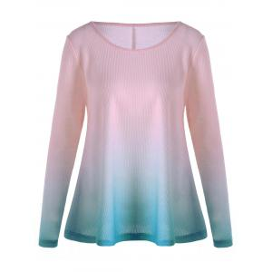 Knitted Long Sleeve Ombre T-shirt - Pink - Xl