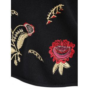 Plus Size Drop Shoulder Floral Embroidered Sweater - BLACK ONE SIZE