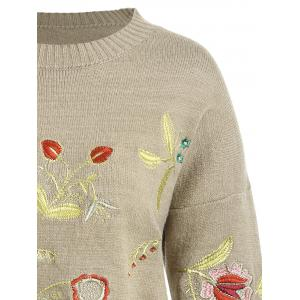 Plus Size Drop Shoulder Floral Embroidered Sweater - CAMEL ONE SIZE