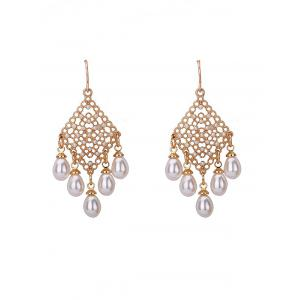 Faux Pearl Embellished Fish Hook Chandelier Earrings