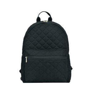 Quilted Zippers Backpack - BLACK
