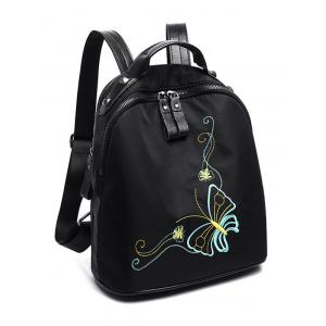 Nylon Embroidery Rivets Backpack - BLACK