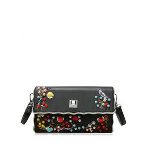 Color Rivets Embroidery Crossbody Bag