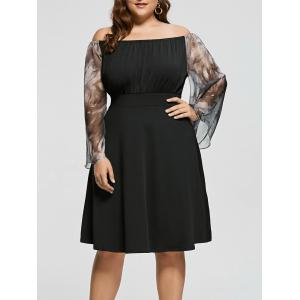 Plus Size Printed High Waist Off Shoulder Dress