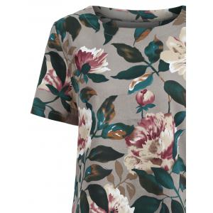 Tunic Pocket Floral Print Shift T-shirt Dress - COLORMIX 2XL