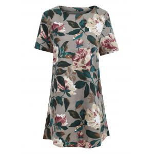 Tunic Pocket Floral Print Shift T-shirt Dress