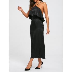 High Slit Sleeveless Long Bodycon Popover Dress - Black - M