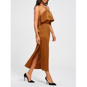 High Slit Sleeveless Long Bodycon Popover Dress - Brown - Xl