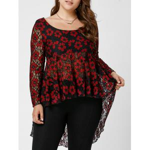 Floral Lace High Low Plus Size Top