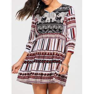 Bohemia Elephant Print Empire Waist Tunic Dress