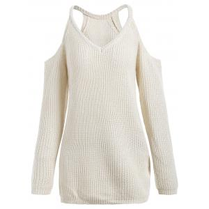 Cold Shoulder V Neck Sweater