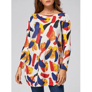 Pullover Colorful Pattern Drop Shoulder Sweater - White - One Size