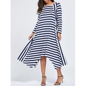 Asymmetric Long Sleeve Striped Maxi Dress