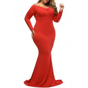 Plus Size Long Sleeve Carpet Maxi Dress