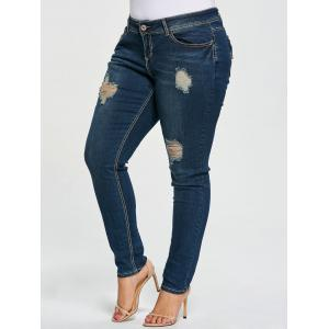 Plus Size Ripped Tight Jeans - Denim Blue - 4xl