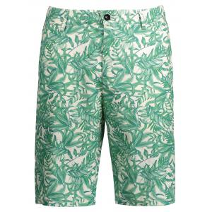 Leaves Printed Casual Shorts - Xl