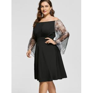 Plus Size Printed High Waist Off Shoulder Dress -