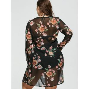 Floral Plus Size Chiffon Sheer Cover-Up -