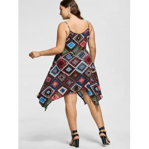 Geomertic Print Spaghetti Strap Plus Size Handkerchief Dress -