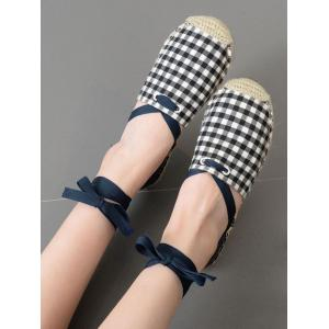 Stitching Plaid Pattern Tie Up Flat Shoes -
