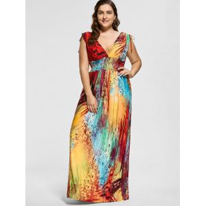 Floor Length Plunging Neck Printed Plus Size Dress -