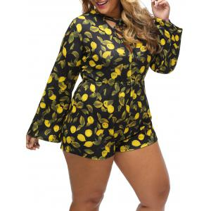 Lemon Print Lace Up Plus Size Romper -