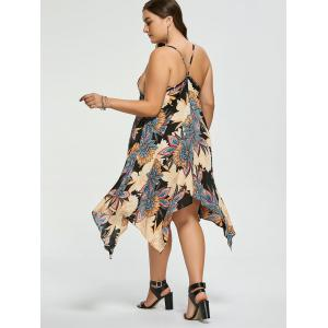 Plus Size Floral Chiffon Asymmetric Slip Dress -