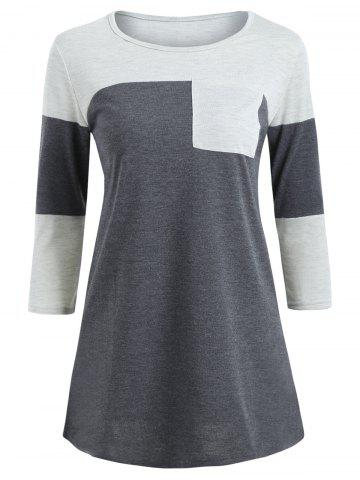 Best Color Block Pocket Tunic T-shirt GRAY S