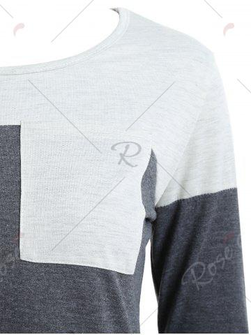 Affordable Color Block Pocket Tunic T-shirt - S GRAY Mobile